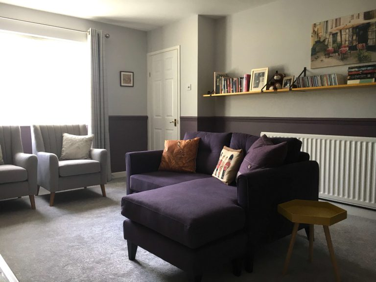 Living room after. Grey, plum, yellow
